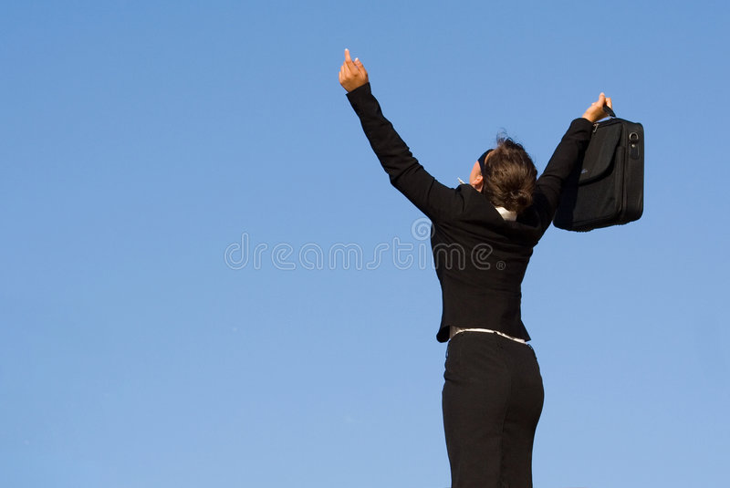 Business woman success. Successful business woman celebrating success stock images