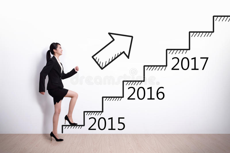 Business woman success in new year. Business woman stepping up on stairs to gain her success in 2015 new year royalty free stock image