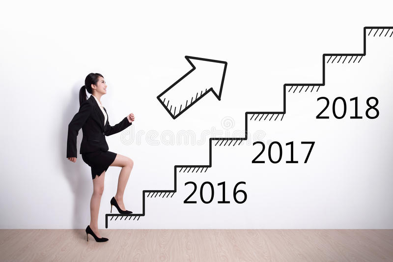 Business woman success in new year. Business woman stepping up on stairs to gain her success in 2016 new year royalty free stock photos