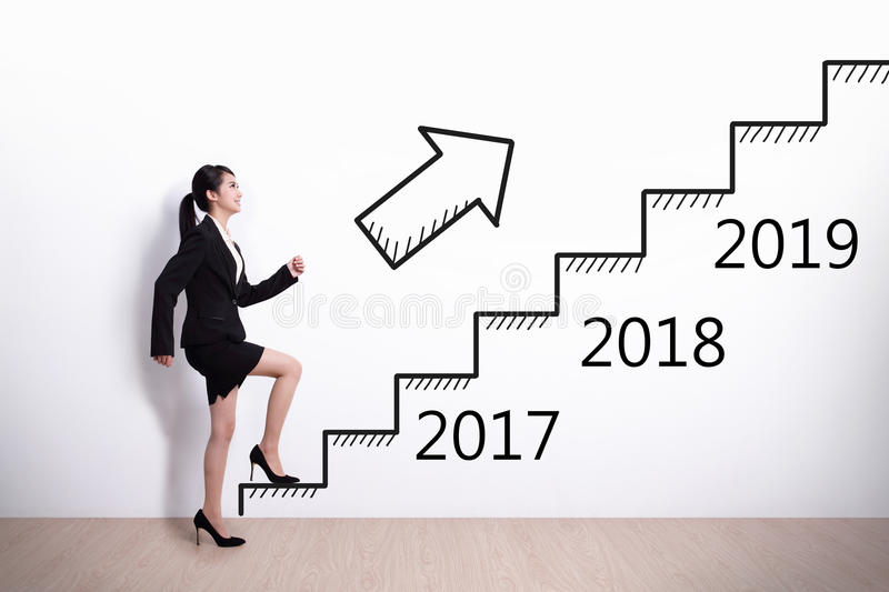 Business woman success in new year. Business woman stepping up on stairs to gain her success in 2017 new year royalty free stock photography