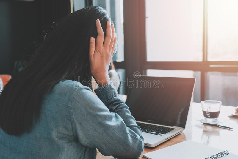 Business woman suffering stress working royalty free stock images
