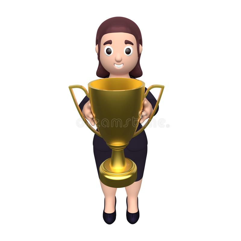 Business woman holds the winner cup. 3d rendering royalty free illustration