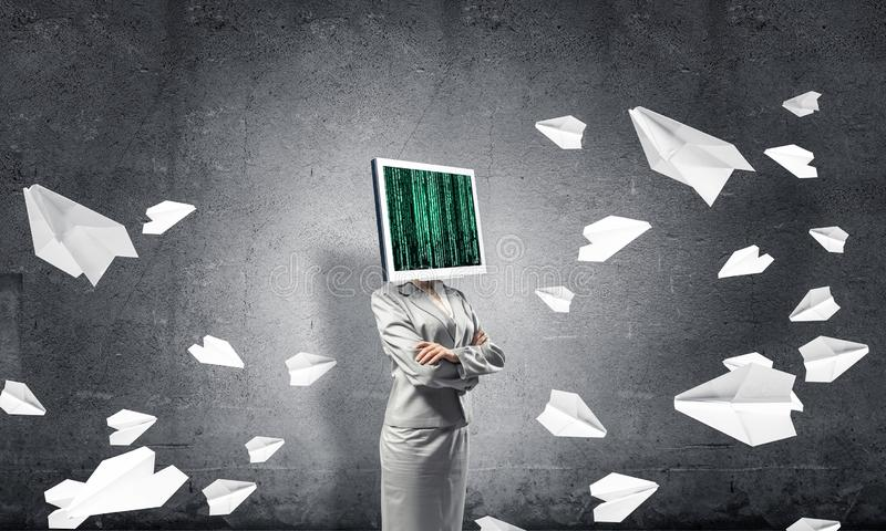 Business woman with monitor instead of head. stock image