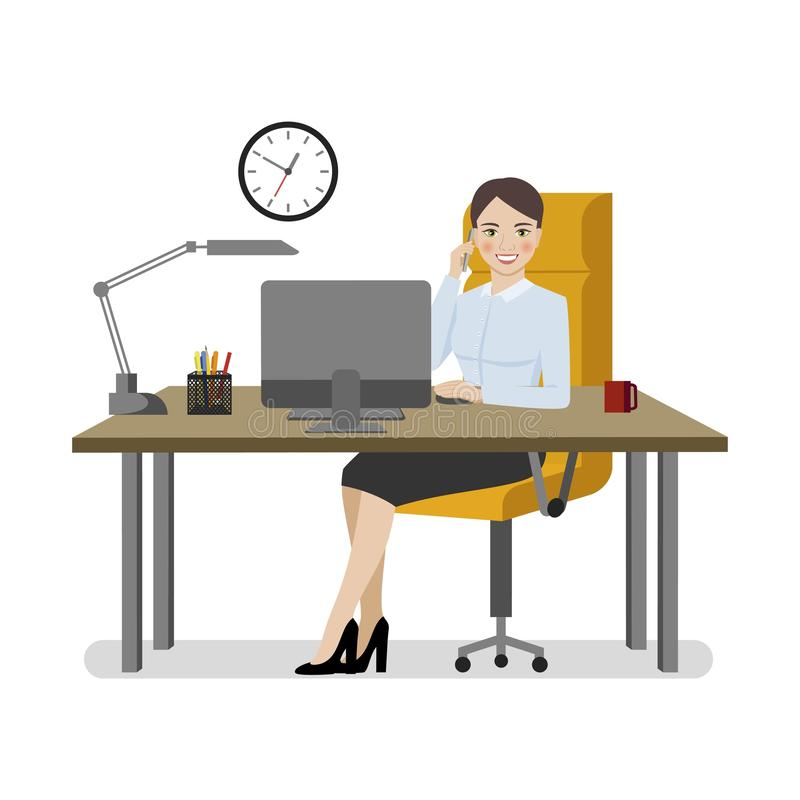 Business woman in a business suit talking on a cell phone at her workplace. stock illustration