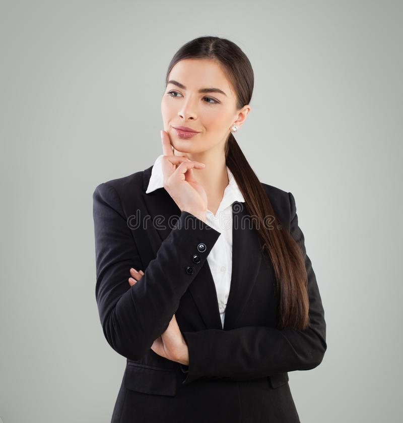 Business Woman in Suit Thinking. Idea, Business Planning royalty free stock photo
