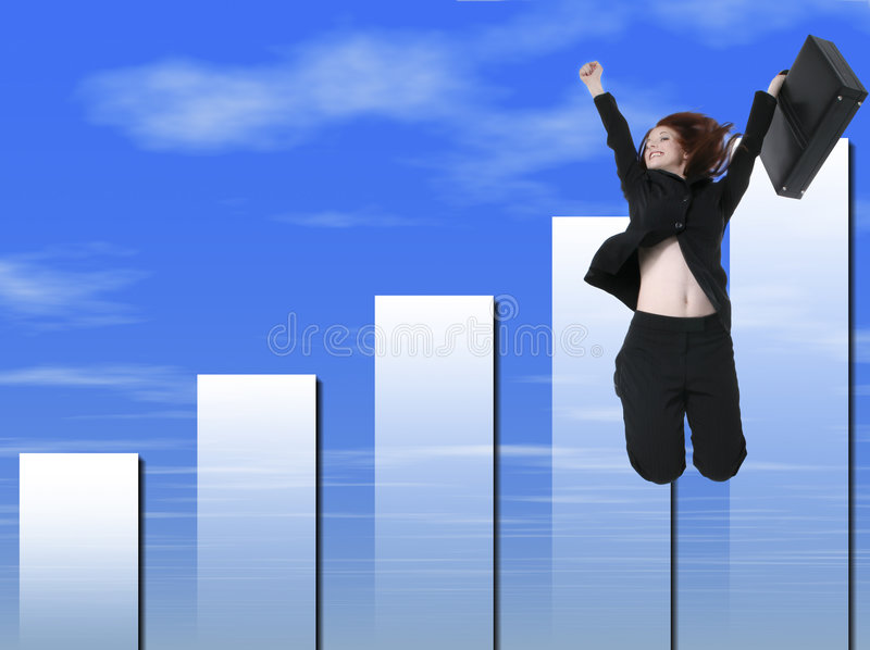 Business Woman with Suitcase Jumping. Blue cloud graph background stock photography