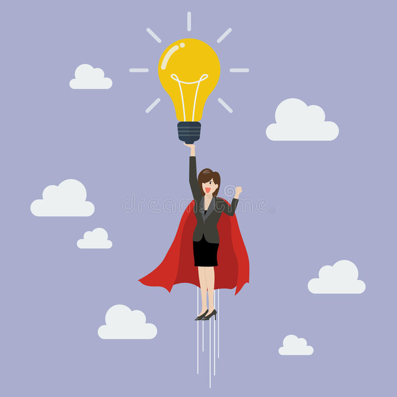 Business woman superhero holding creative lightbulb. Business idea concept stock illustration