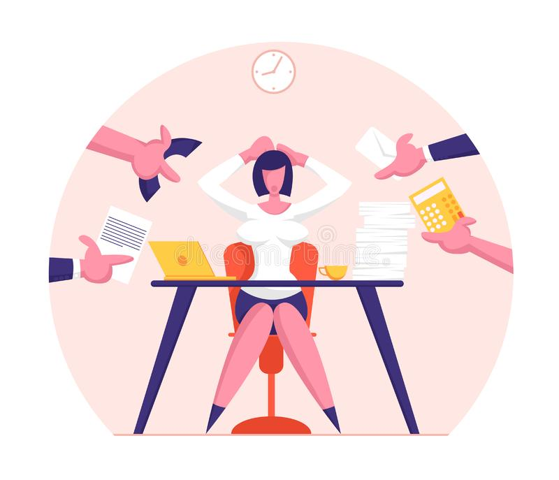 Business Woman Surrounded by Hands with Office Things. Multitasking and Time Management Concept stock illustration