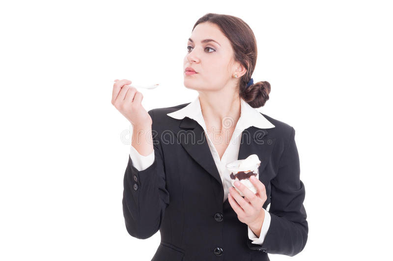 Business woman taking an ice cream break or pause. Concept isolated on white background stock image