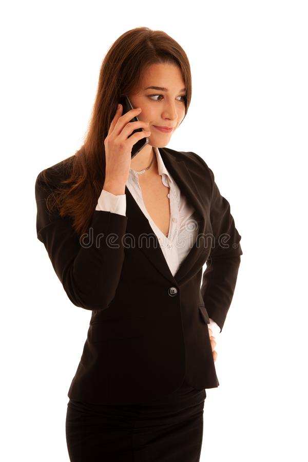 Business woman talk on smartphone isolated over white background.  stock images