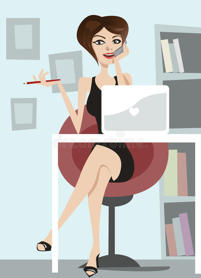 Business woman talking on phone royalty free illustration