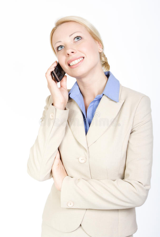Business woman talking on the phone. Over white royalty free stock photos