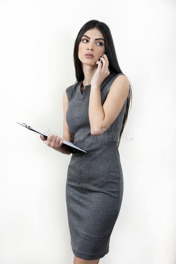 Business woman talking on the phone. stock image