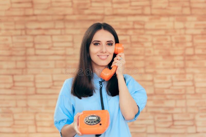 Business Woman Talking on Retro Telephone stock photos