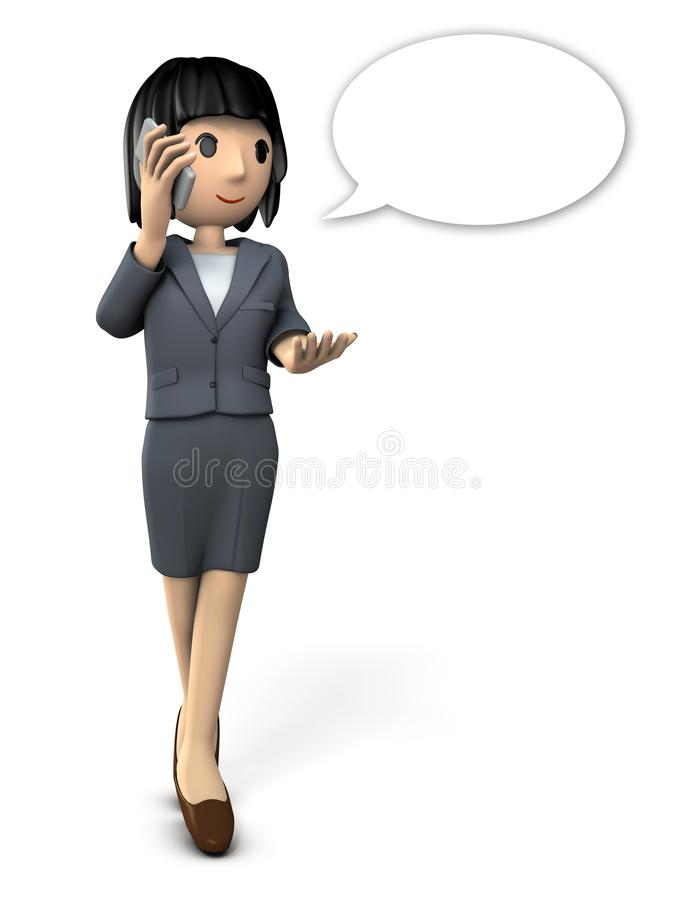Business woman talking on smartphone. royalty free illustration