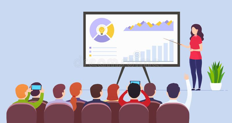 Business woman teacher holds a lecture presenting marketing data on presentation screen. royalty free illustration