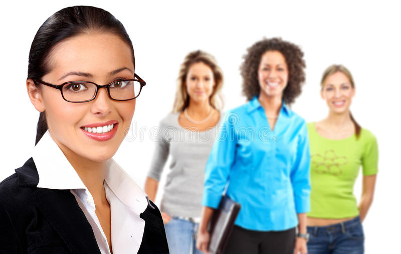 Business woman and team. Young smiling successful business woman and team. Over white background royalty free stock photo