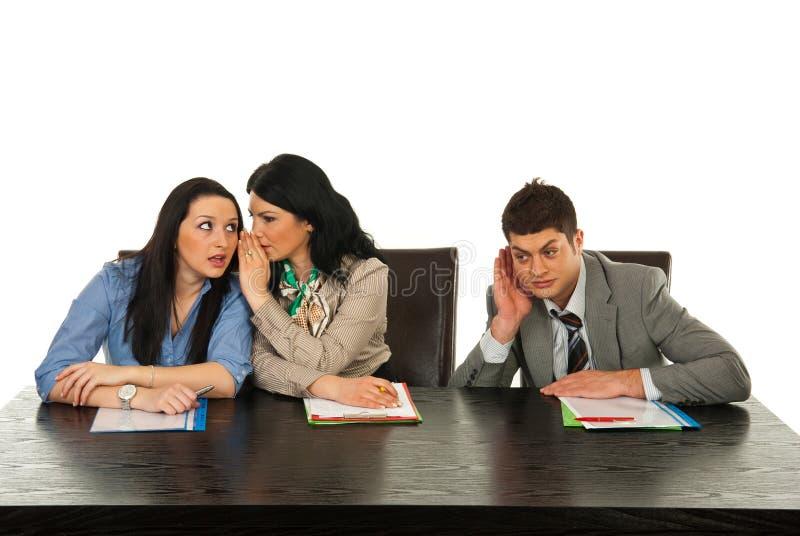 Business woman telling secret stock images