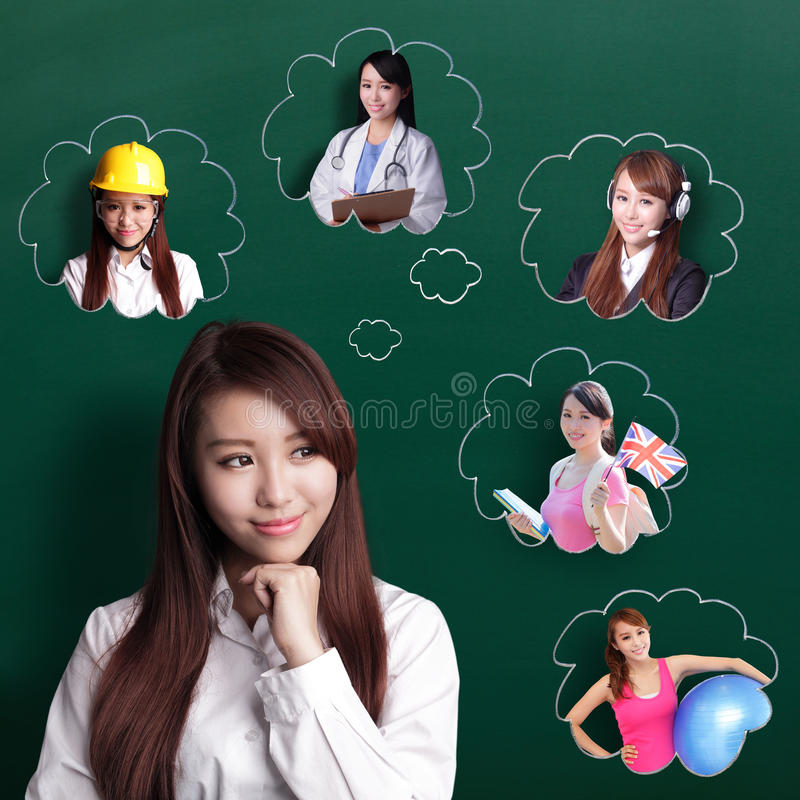 Business woman think future royalty free stock photo