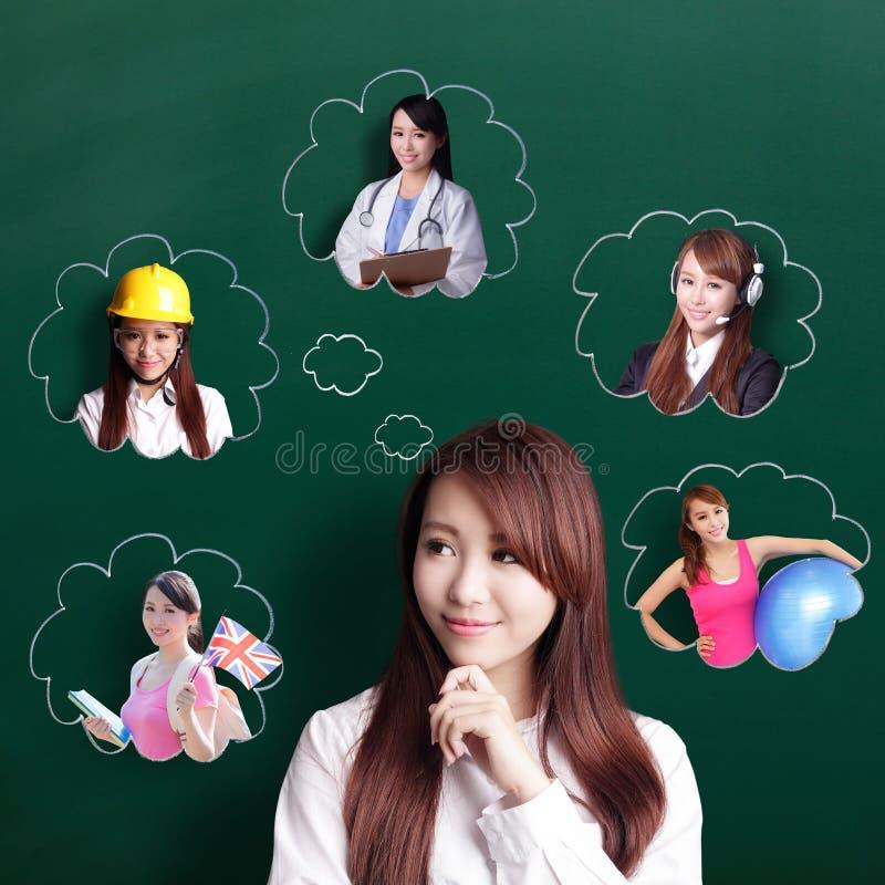 Business woman think future stock photo