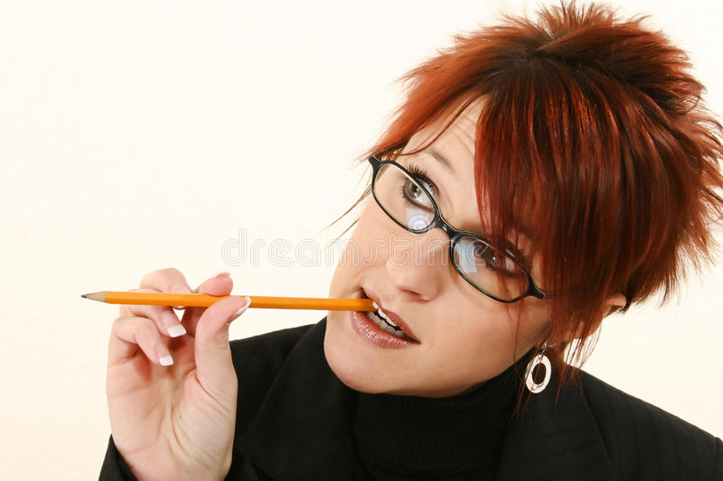 Download Business Woman Thinking stock image. Image of eyeglasses - 17544809