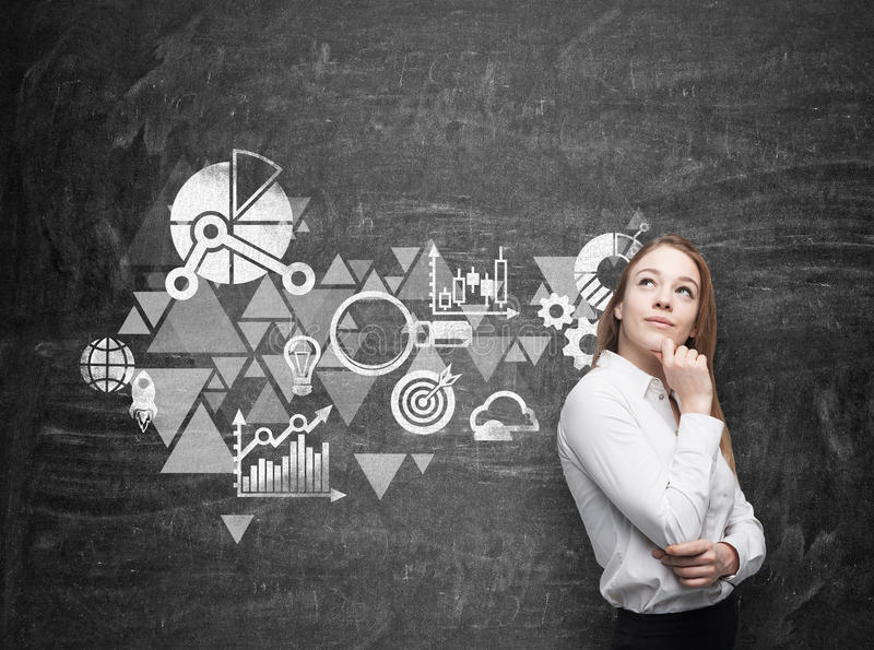 Business woman is thinking about business optimisation scheme. Black chalk board as a wall on the background. Young business woman is thinking about business royalty free stock images