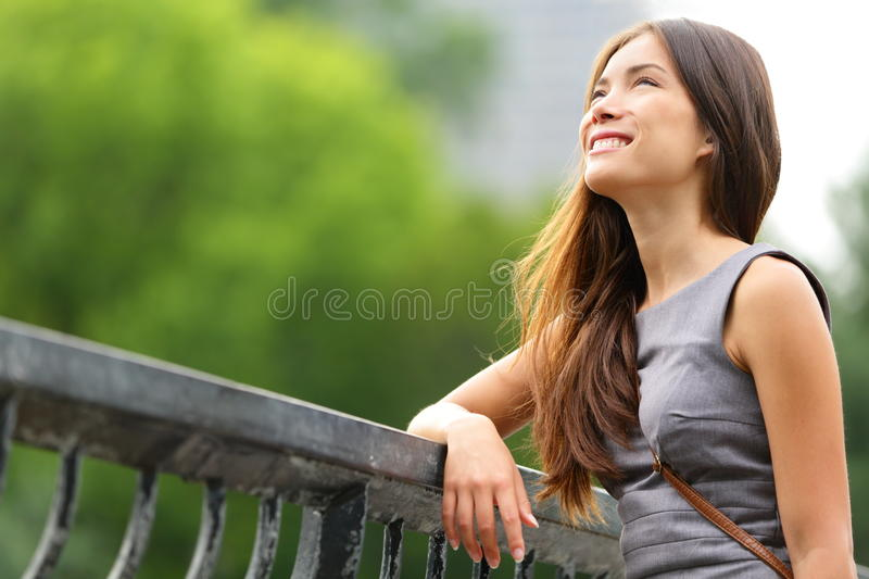 Business woman thinking in Central Park stock images