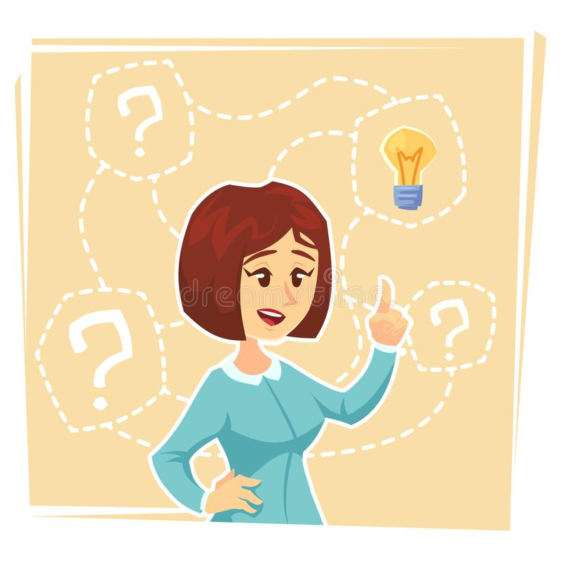 Business woman thinking about creative idea. Business woman standing with question marks and idea light bulb above her head. Busin. Ess idea concept. Vector flat royalty free illustration