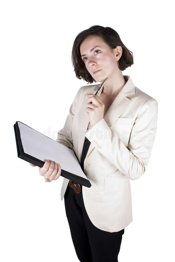 Download Business Woman Thinking About An Idea Stock Photo - Image: 9417820