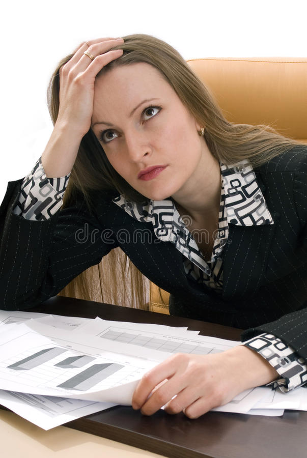 Business woman thinks about the problem royalty free stock photos