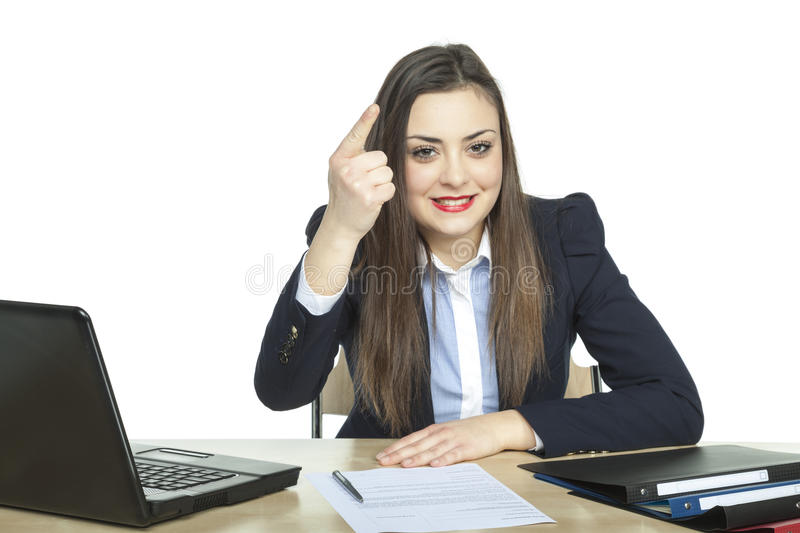 Business woman threatening finger. White background stock photos