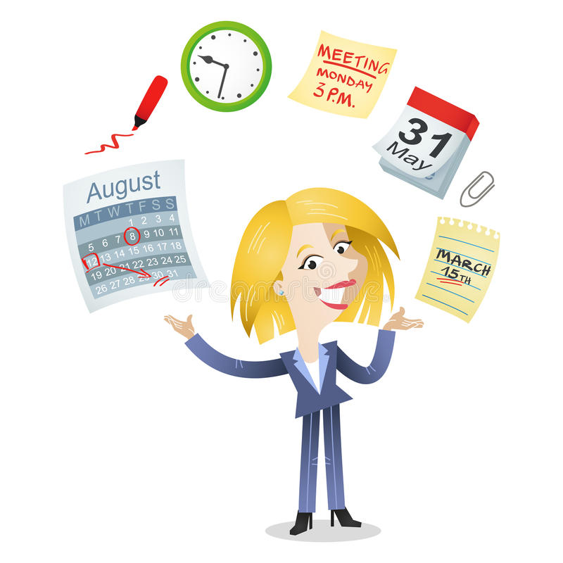 Business woman time management icons vector illustration