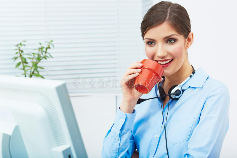 Business woman time out concept, red coffee cup. Break the work royalty free stock image