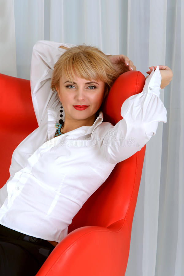 Business woman tired and stretches royalty free stock photography