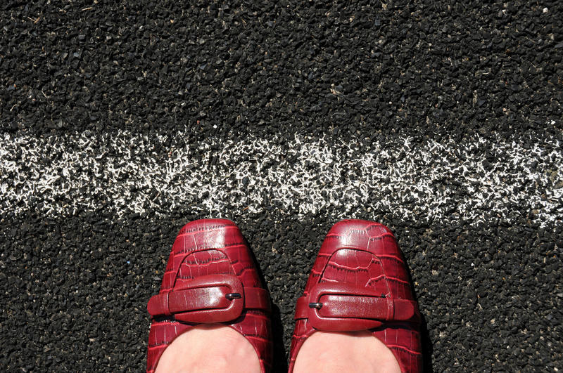 Download Business Woman Toes The Corporate Line Stock Photo - Image: 20909700