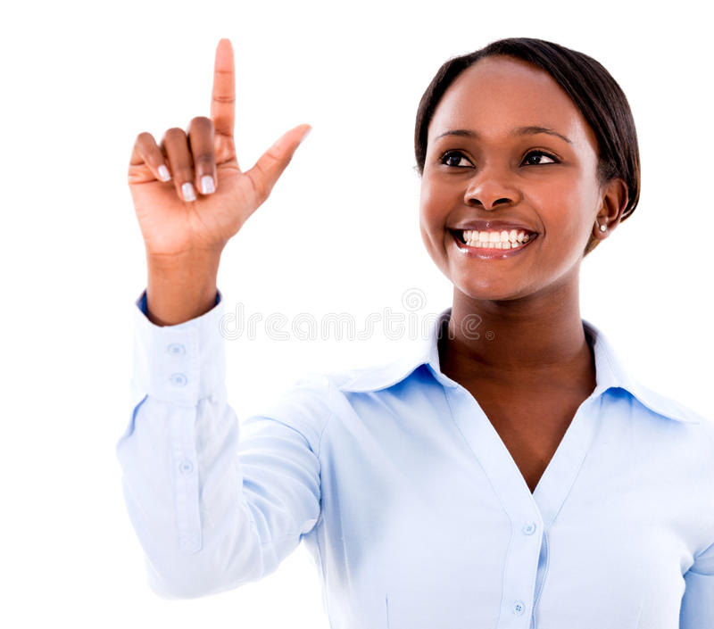 Download Business Woman Touching A Screen Stock Image - Image: 31875831