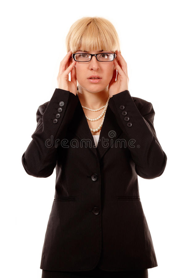 Business Woman Troubled With Glasses Stock Images