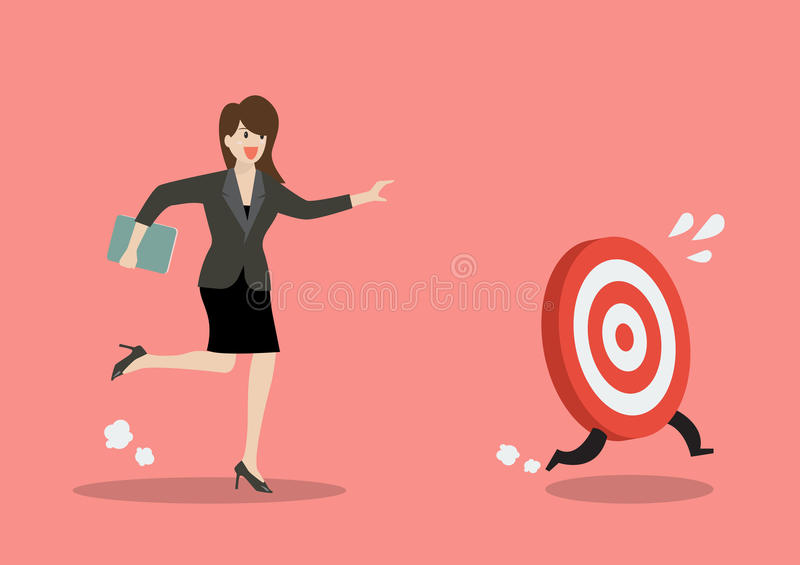 Business woman try to catch the target. Business concept stock illustration