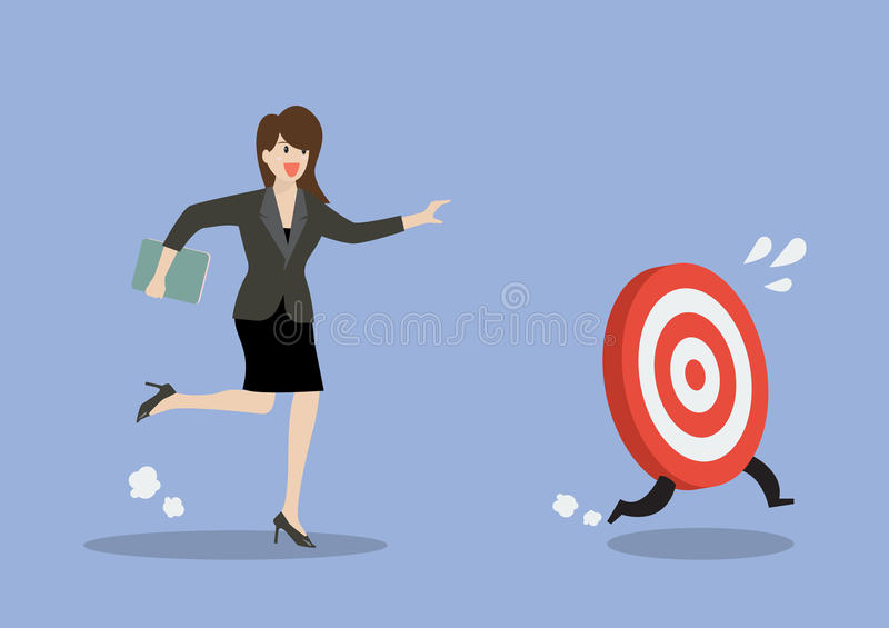 Business woman try to catch the target. Business concept royalty free illustration