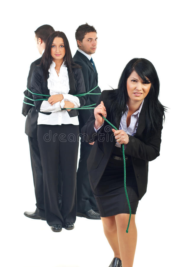 Download Business Woman Trying To Pull Her Team Stock Image - Image: 17316943