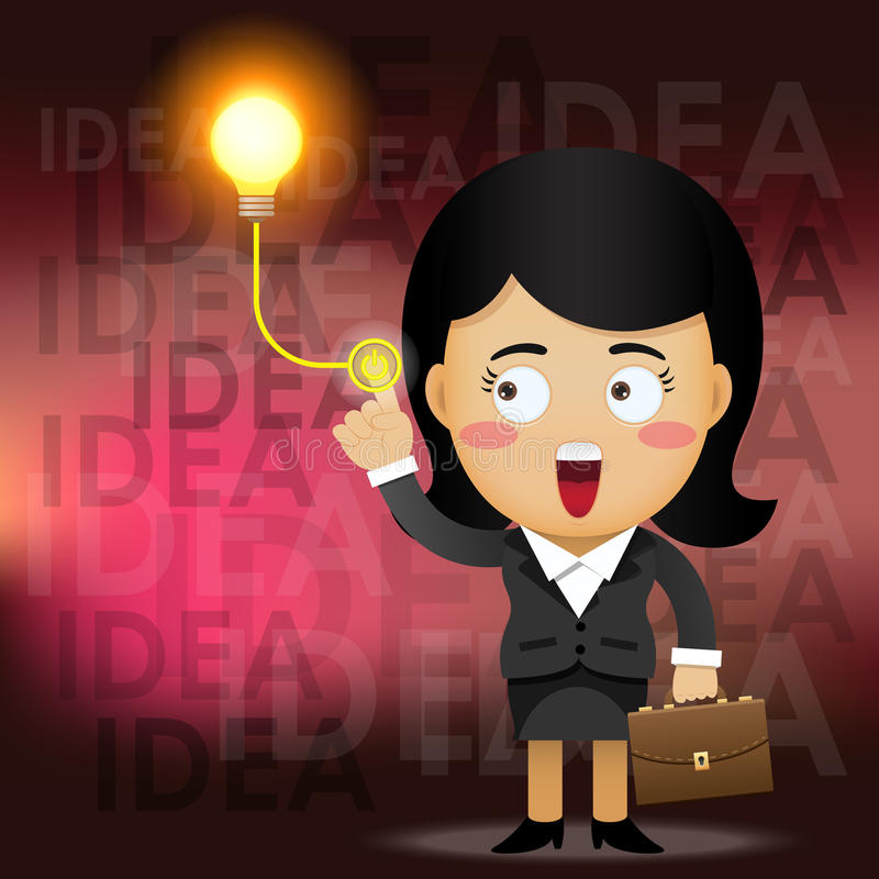 Business woman turning on idea light bulb. Business woman press button turning on light bulb as turn on idea light bulb concept royalty free illustration