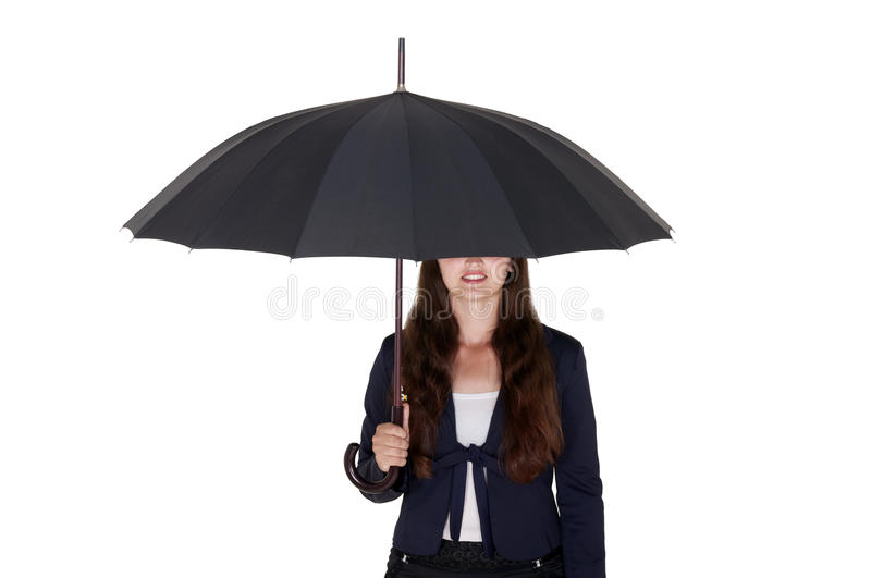 Business woman under a black umbrella royalty free stock images