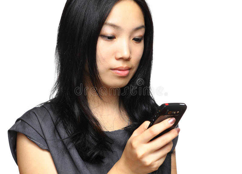 Business woman use cellphone. With white background stock photo