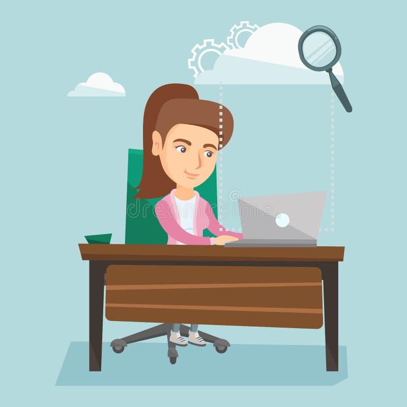 Business woman using cloud computing technologies. royalty free illustration