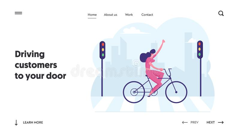 Business Woman Using Eco Transport for Moving at Work Website Landing Page. Businesswoman Riding Bicycle royalty free illustration