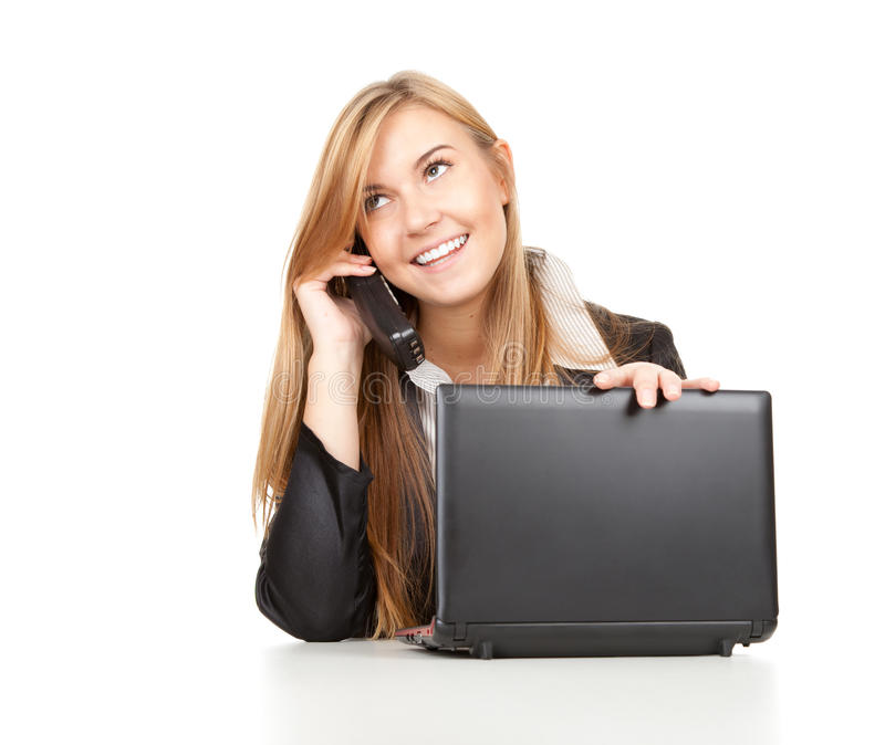 Download Business Woman Using Her Mobile Phone And Laptop Stock Image - Image: 21750933