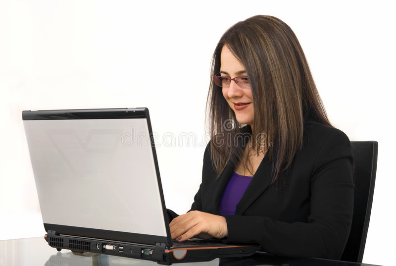 Download Business Woman Using Laptop Stock Photo - Image: 7283498
