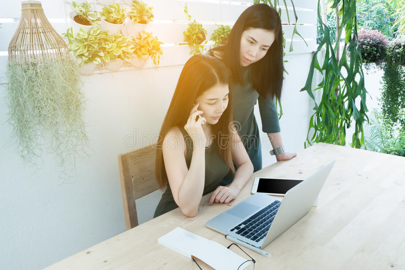 Business woman using laptop and cell phone on tree garden at home, Young women conducting business from home. Business women using laptop and cell phone on tree stock photography
