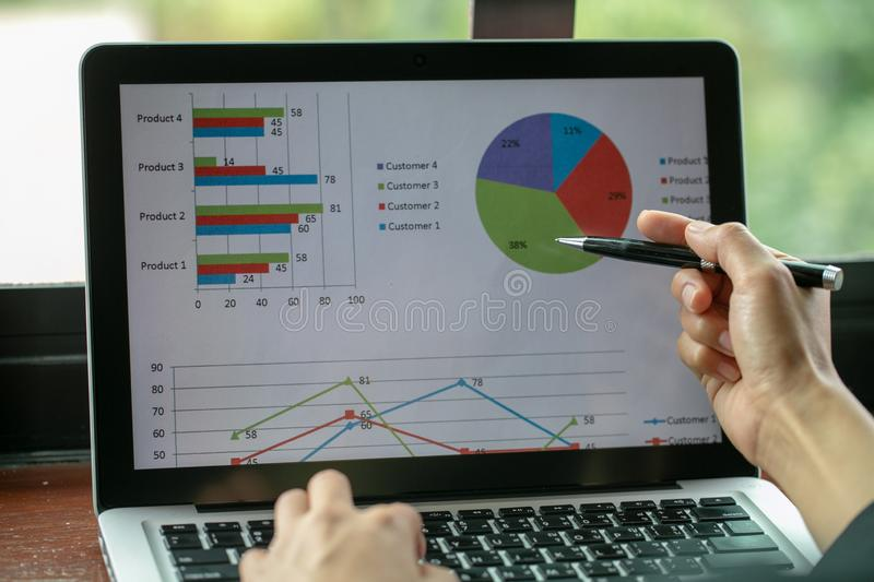 Business woman using modern laptop with graph. Business startup. Analyze strategy concepts stock images