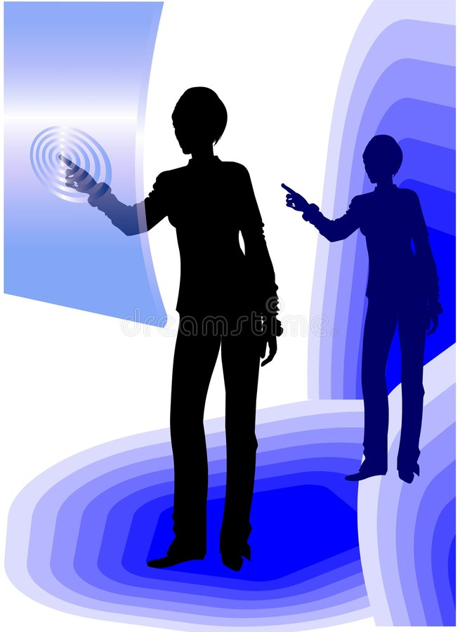 Business woman using touch screen royalty free illustration